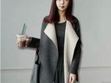 孕妇装2014新款时尚韩版孕妇大翻领毛呢外套女中长款韩国呢子大衣