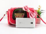 节日礼物 菱格子PU皮斜跨包儿童零钱包手机包可爱卡通女小包