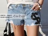 夏季韩版新款热卖符号字母印花图案 磨破不车边时尚韩国牛仔短裤