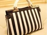 女包手提包 2014新款欧美时尚大牌高端条纹休闲大包包 一件代发