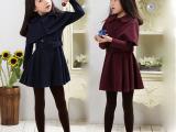 童装 中大童冬季加绒保暖连衣裙 女童披肩裙子两件套儿童韩版套装
