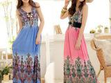 新款印花高腰垂坠显瘦双V领连衣裙 吊带长裙 沙滩礼服长裙