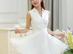 代理加盟2015春夏新款女装OL气质白色仙女 连衣裙5687一件代发