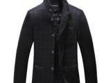 秋冬中长格子羊绒毛呢大衣男装休闲立领修身