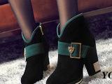 批发拿货冬天真皮牛皮正品拉链拼色防水台舒适粗高跟磨砂中筒靴女