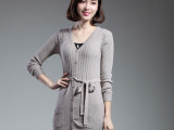 14年秋季新款 韩版显瘦纯色中长款腰带 女式针织开衫厂家批发
