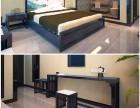 三四星级商务酒店新中式客房喷油漆床架