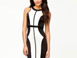 外贸欧洲站黑白拼接背拉链修女型无袖铅笔中长款显瘦连衣裙21252