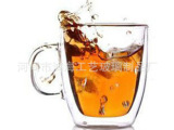 生产带把双层杯 耐热玻璃杯 透明水杯 杯子  星巴克咖啡杯350ML