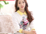 MuYii 2015春秋装新款韩版娃娃领印花打底衫 长袖大码蕾丝