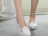 欧美站新款韩版小白鞋真皮平底白色女鞋小尖头低跟克罗心单鞋女鞋