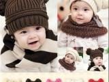 新款韩版双球婴儿宝宝单色毛线帽针织儿童帽子男女童秋冬天护耳帽