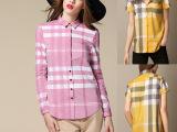 欧洲站春季新品 粉色格子衬衫女长袖 翻领开衫 修身 实体批发女装