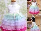 2014新夏季婴儿服装女童白色公主裙儿童派对服饰宝宝生日婚礼蛋糕
