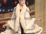 欧美秋冬精品女装格纹披肩外套 针织披肩斗篷开衫外套女皮草披肩
