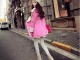 2014冬装韩国少女机车翻领加厚复合麂皮绒中长款大衣外套