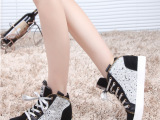 韩版2014春秋新款高帮鞋女平跟厚底前系带内增高系带板鞋潮代理