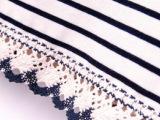 213-0001日式VIVI森林系下摆勾花蕾丝花边横条纹长袖打底