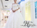 新娘结婚中袖一字肩长拖婚纱蕾丝长拖尾婚纱礼服2015新款