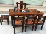肇庆市老船木茶桌椅子仿古茶台实木沙发茶几餐桌办公桌家具博古架