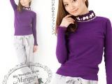 蕾丝蝴蝶水钻装饰保暖长袖毛衣 修身高领弹力女士打底衫针织衫