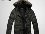 2012最新款男士大毛领时尚休闲高绒高品质中长款羽绒服厂家直批