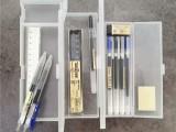 磨砂文具盒白色半透明鉛筆盒簡約磨學生筆盒PP塑料文具盒