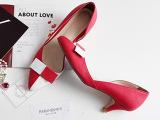 2014春韩版新款真皮气质拼色浅口单鞋女鞋 头层牛皮中跟皮鞋