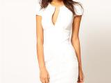 Ebay热销欧美大牌气质深V领铅笔裙夏季修身短袖及膝连衣裙OL连