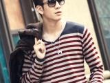 2013品牌男装代理加盟 韩版男士条纹毛