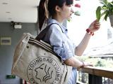 混批韩版女包新款时尚印花帆布包斜挎手提包两用单肩包学院风潮