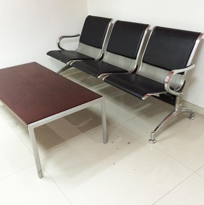 重庆家具钢制排椅沙发简约办公沙发三人位排椅休闲皮沙发厂家直销
