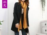 厂家直销2014秋冬新款韩版毛呢大衣个性气质修身中长款一件代发