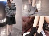欧美秋季新款时尚V口尖头粗高跟短靴女马丁