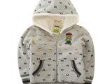 外贸童装 冬季韩版纯棉男女儿童加绒卫衣 小熊童加厚加绒连帽卫衣
