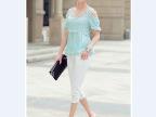 夏季新品 1022 时尚女装露肩蕾丝拼接修身显瘦天丝棉T恤小衫