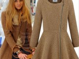 欧洲站女装2014秋装新款加厚拉链拼接长袖连衣裙收腰纯色毛呢外套