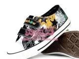 Y235一休童鞋搭扣帆布鞋涂鸦魔术贴批发