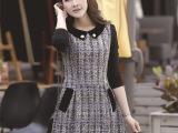 厂家直销 2015春装新款韩版大码女装娃娃领时尚修身连衣裙长袖