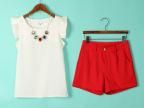韩版小香风时尚气质修身雪纺女士休闲套装两件套女短袖短裤大码