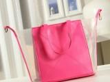 2014韩版秋季新款时尚糖果色透明包女士单肩包休闲大包女包包潮