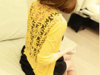 外贸夏装女装韩版修身休闲长袖V领镂空针织衫开衫小外套女薄批发