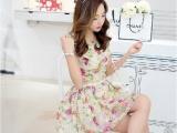 8229# 夏季女装印花裙韩版修身欧根纱