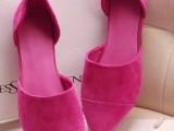 2014春夏季新款欧洲站 真皮尖头平底糖果彩色系列单鞋批发  G