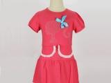 韩版新款童裙奥代尔针织烫珠短袖连衣裙中小女童清新可爱裙子批发