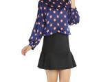 2015春季新款欧美时尚宽松圆领五角星撞色灯笼袖大码蝙蝠衫Z10