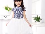 2015夏季新款童装青花瓷女童连衣裙中国风儿童旗袍纱裙 一件代发