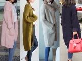 韩国秋冬新款女装 韩版宽松粗针毛衣外套中长款 加厚长袖针织开衫
