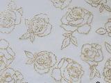 玫瑰花网布烫金银粉 可加工定做化纤类混纺、交织类面料