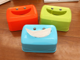 可爱卡通笑脸纸巾盒 塑料礼品抽纸盒创意家